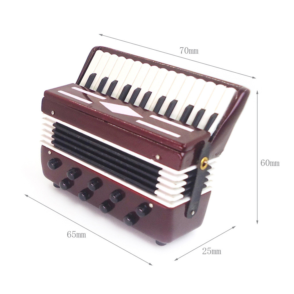 New Fashion Miniature  Accordion 1:12 Mini Dollhouse Mini Instrument Cute Doll House Mini Accordion Wholesale Free Ship Z4