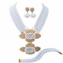 Белые хрустальные бусины нигерийские Свадебные африканские Ювелирные наборы эффектное ожерелье набор 6C-2DH011