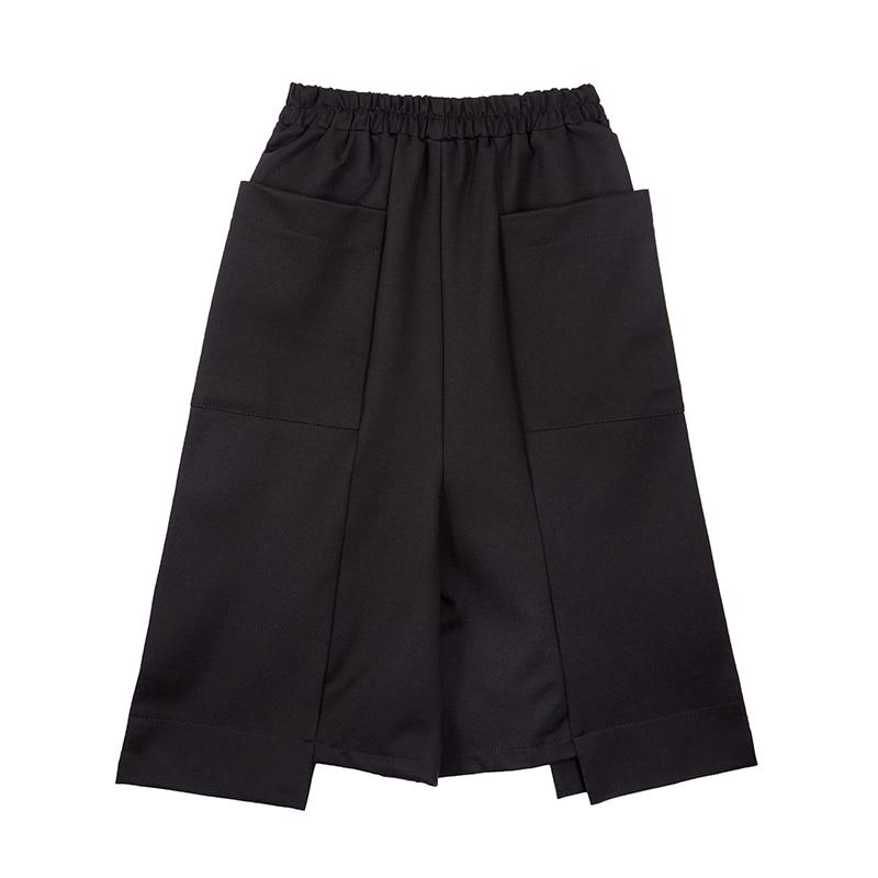 Harajuku Hip Hop Punk Boho Casual Loose Irregular Large Pockets Elastic Waist Women Wide Leg   Pants   Summer Trousers Black   Capris