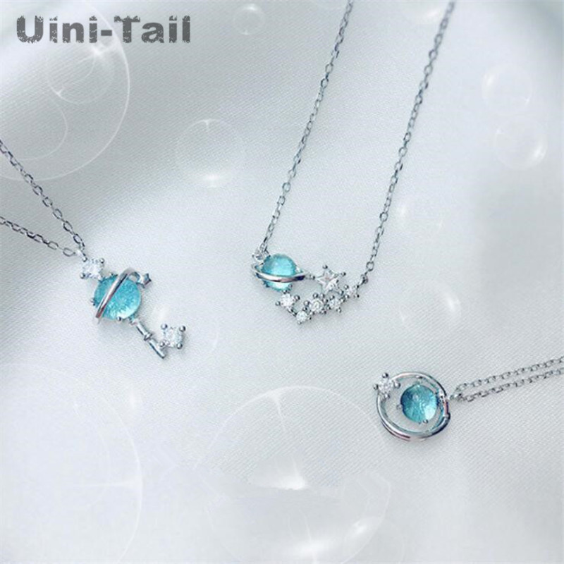 Detail Feedback Questions about Uini Tail hot new 925 sterling silver small  fresh blue fantasy planet necklace universe aurora planet fashion trend  sweet ... 9e2bb06ec55f