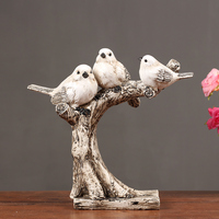 Creative Nordic Style Wood carved bird Office Desk Decor Bar Entrance Hall ornaments wedding wooden gifts