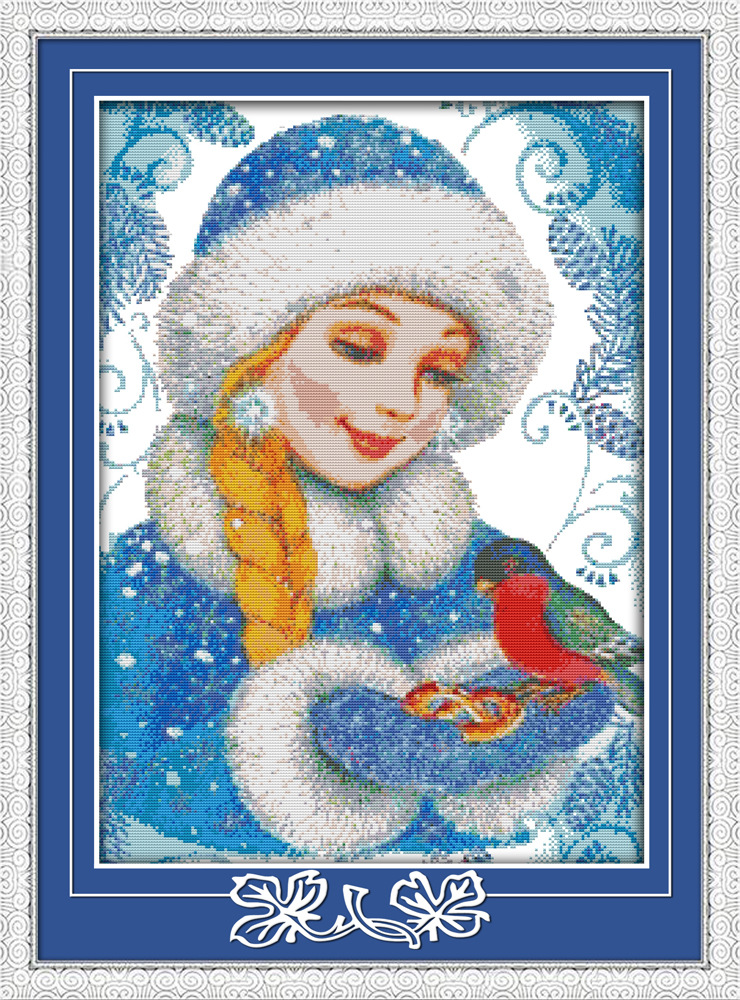 The kind blue-coated girl Printed Canvas DMC Counted Cross Stitch Kits printed Cross-stitch set Embroidery Needlework