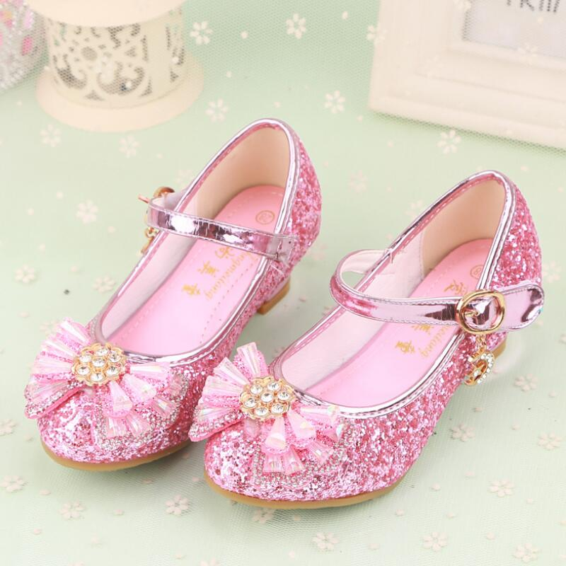 SKHEK Summer Princess Girls Sandals Beach Shoes For Bowknot Girls Rhinestone High Heels Dancing Shoes Kids dress Shoes 27 36 in Sandals from Mother Kids