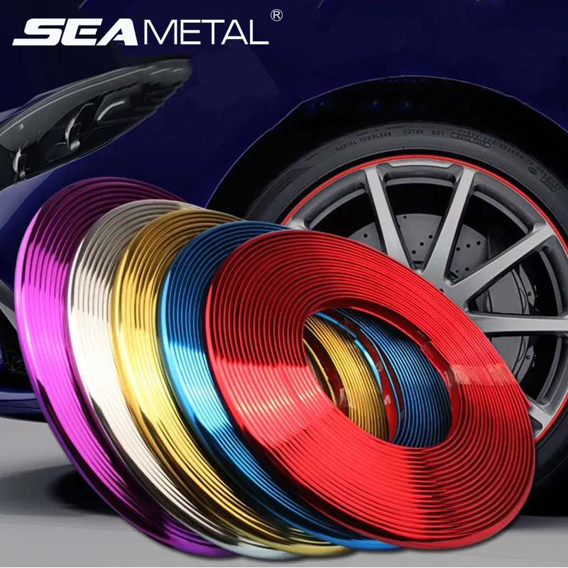 Car Wheel Rim Sticker Chrome Wheel Decoration Auto Tire Rims Plated Strip Protection Decoration Car-styling Exterior Accessories