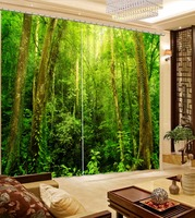 Top Classic 3D European Style Model Home Curtains Green Forest Blackout Curtains For Bedroom