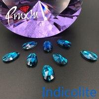 Haute qualité Indicolite couleur Waterdrop 11*18mm/16X25mm/17*28mm Strass coudre sur pierre Cristal Flatback 2 trous DIY vêtement utilisation