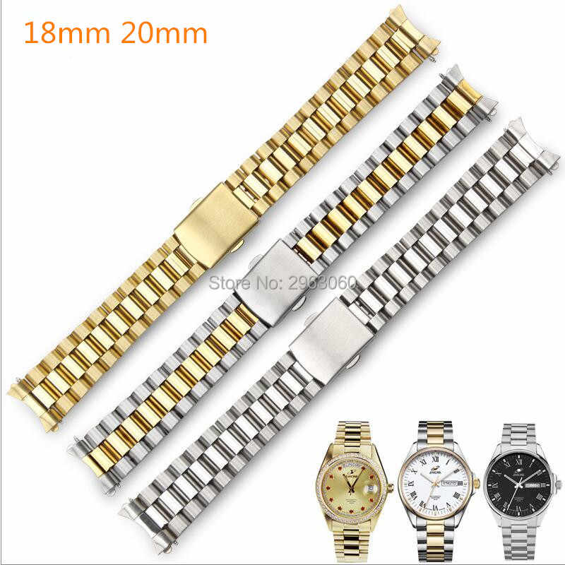 Curved End Stainless Steel Watchband Silver Gold Bracelet 18mm 20mm Center Link Solid Band For Citizen Enicar Orient Watches