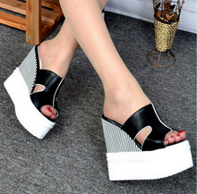 Summer Sandals Female Korean thick crust slope with sandals High with waterproof slippers Fish head muffin