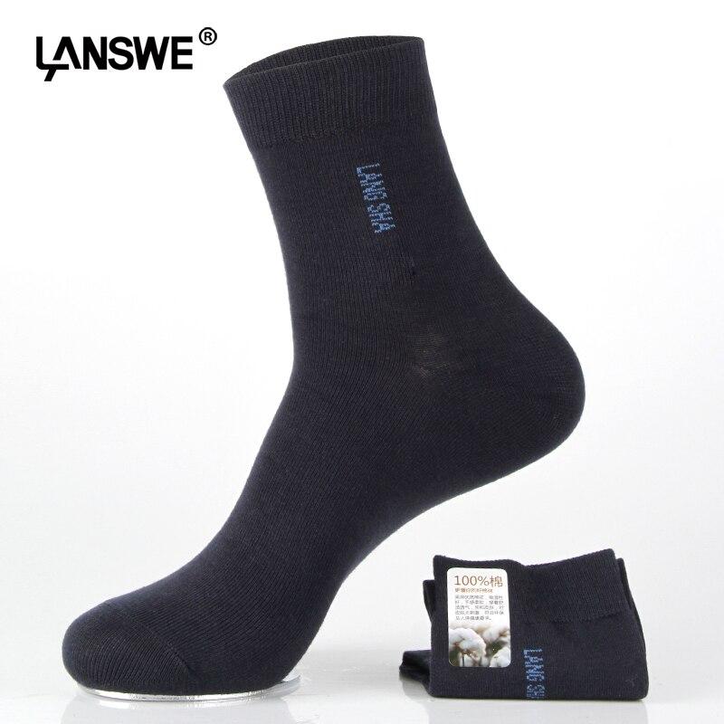 LANSWE 3Pairs/lot EU SIZE 40-45 Men  large size socks Solid color brand Male Business socks US size (7.5-12)