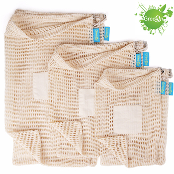 GreeOn Ecological Reusable Vegetable Fruit Bags - Reutilisable Cotton Mesh Cloth - Eco Friendly Zero Waste Produce Storage Bag 1
