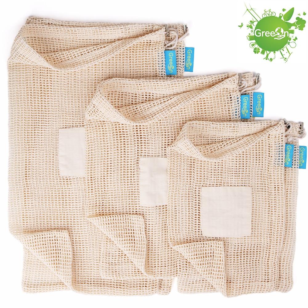 GreeOn Ecological Reusable Vegetable Fruit Bags - Reutilisable Cotton Mesh Cloth - Eco Friendly Zero Waste Produce Storage Bag