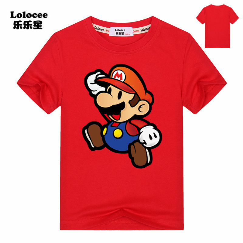 Children Fashion Summer Present Mario Game T Shirt Boys Girls Cartoon Tshirts Short Sleeve Cotton Tops Tees For Kids age 3 6 8 t shirt for boys girls summer tees solid color tops for 3 12t children teens summer clothing a101 short sleeve cotton t shirt