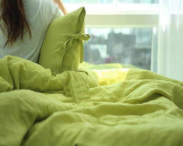 4pcs Washed Green French Linen Bedding Set Queen Size Children Linen Duvet  Cover Bed Sheet Set