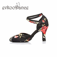 Size US 4 12 Latin Dance Shoes Heel Height 6 cm Red Flower Professional Zapatos De Baile Close Toe Ballroom Shoes NL196