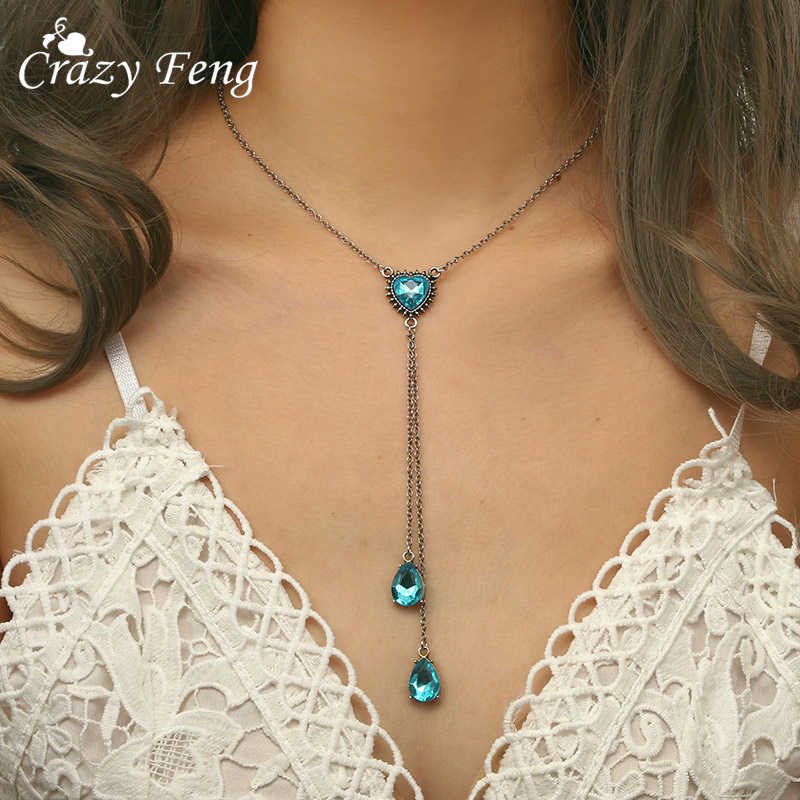 2018 Heart Crystal Chokers Necklaces For Women Blue Crystal Chain Long Tassel Necklace Temperament Crystal Drop Set Ladies Gift