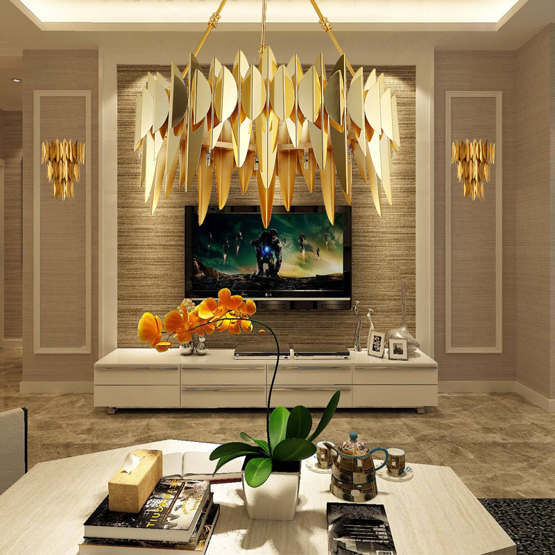 Modern Gold Living Room LED Wall Lamp Plating Stainless Steel Lampshade Sconce For Bedroom Lobby Hanging AC90-260V Light Fixture