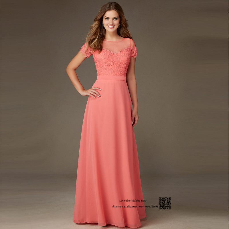 long dresses for wedding guests coral colored bridesmaid dresses sleeve lace wedding 5580