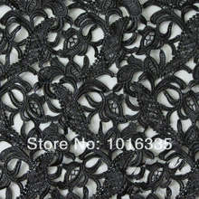 2014 Grade soluble embroidery fabric , guipure lace fabric ,Black lace fabric for fashion dress JM535