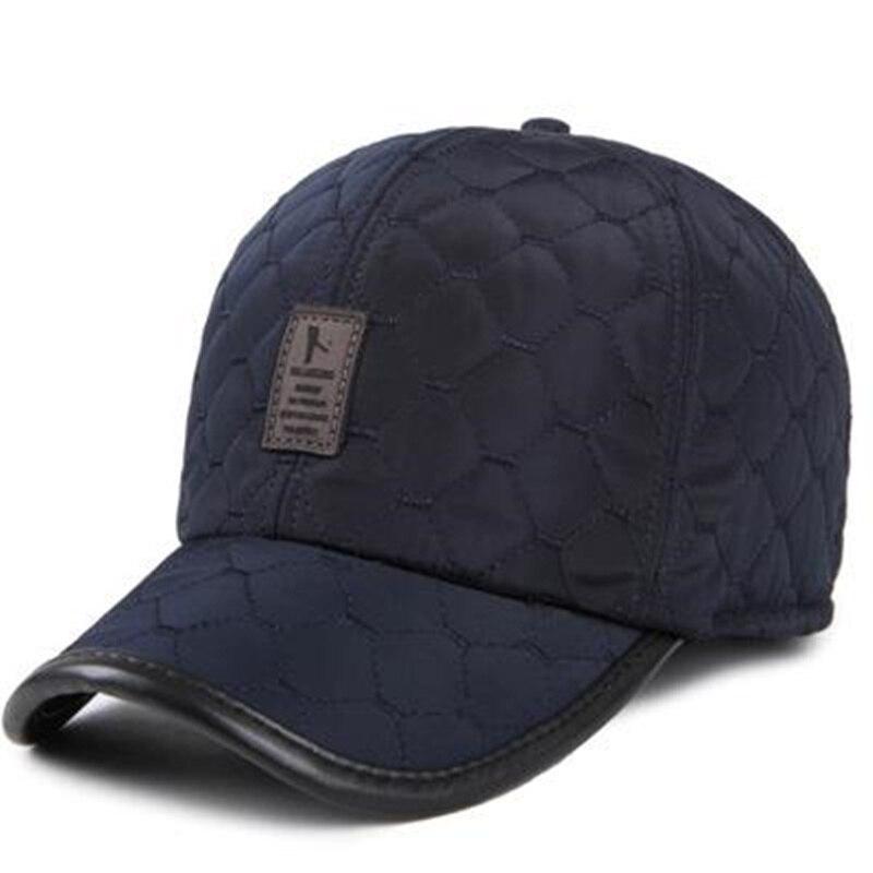 2017 new Warm Winter Baseball Cap Men Ear Protection Gorro hats brand Snapbak Solid Bone Baseball cap Men Winter Warm for Men