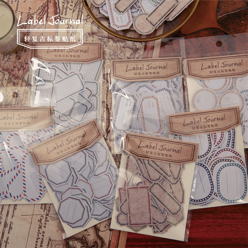 50 Pcs/Box Vintage Writable Sealing Sticker Mini Decoration Paper Sticker Decoration DIY Album Diary Scrapbooking Label Sticker