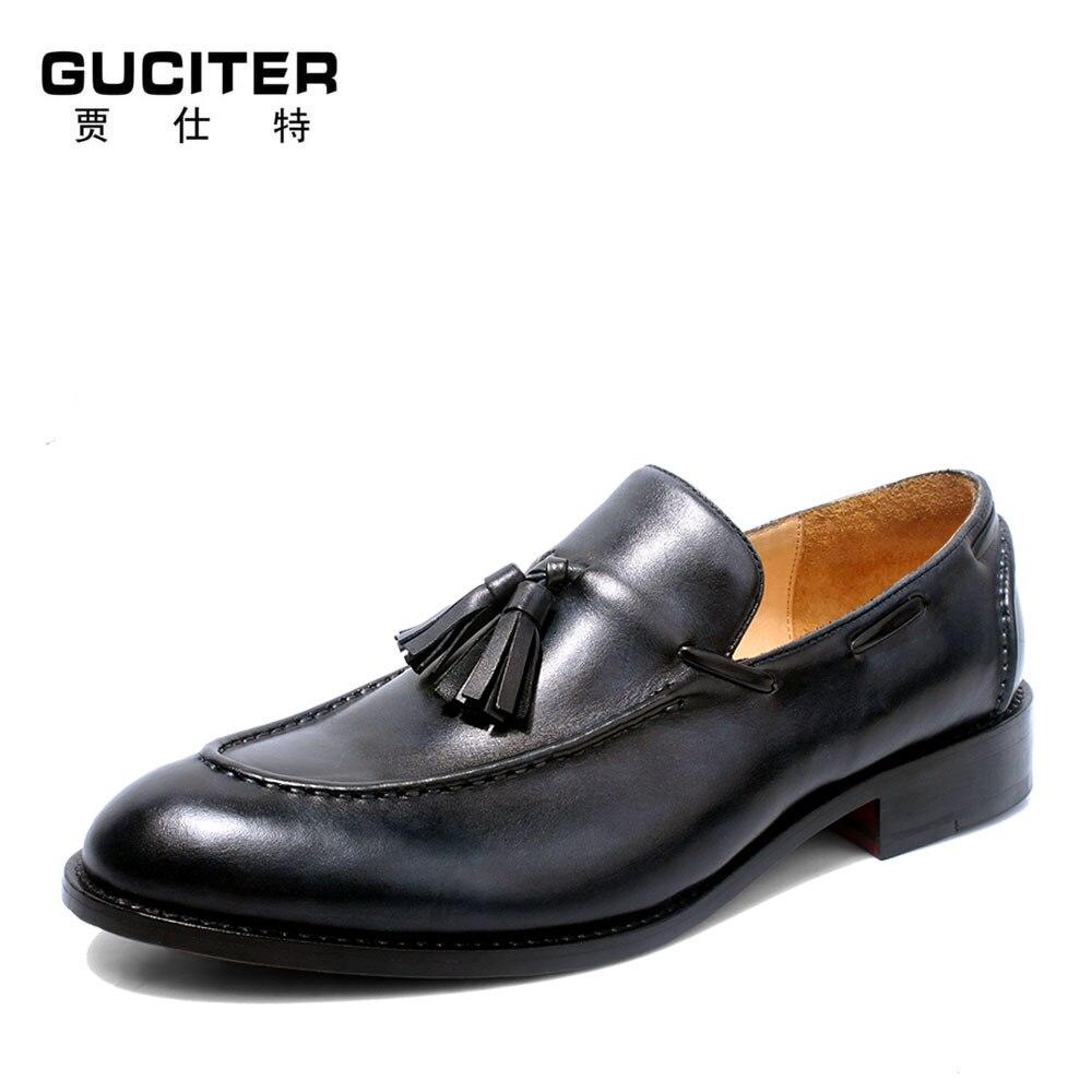 цена на 100% Full cowhide Genuine Leather Goodyear Welt Handmade Loafer Shoe Men's Dress Formal Shoes free shipping Man's Flats Shoe