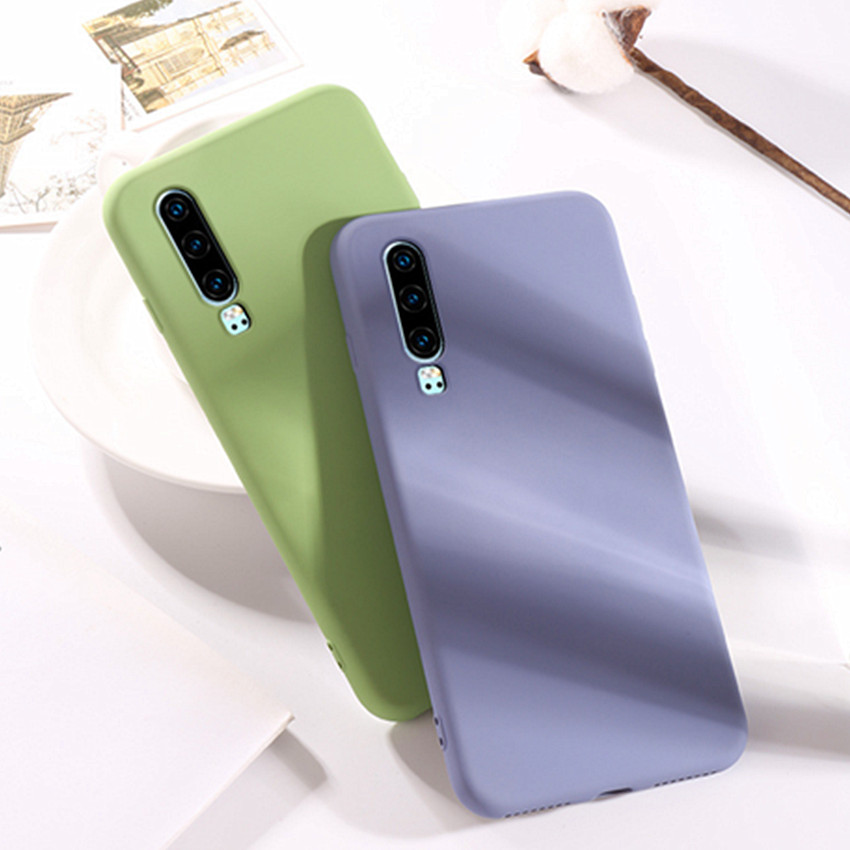 For Huawei P30 Pro Case P30 P30 lite Liquid Silicone Gel Rubbe Protective Cover Microfiber Insided for Huawei P 30 P 30Pro case in Fitted Cases from Cellphones Telecommunications