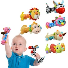 Colorful Baby Plush Hand Shake Bell Mirrors Rattles Bibi Sticks Soft Doll Cartoon Animal Kids Toys