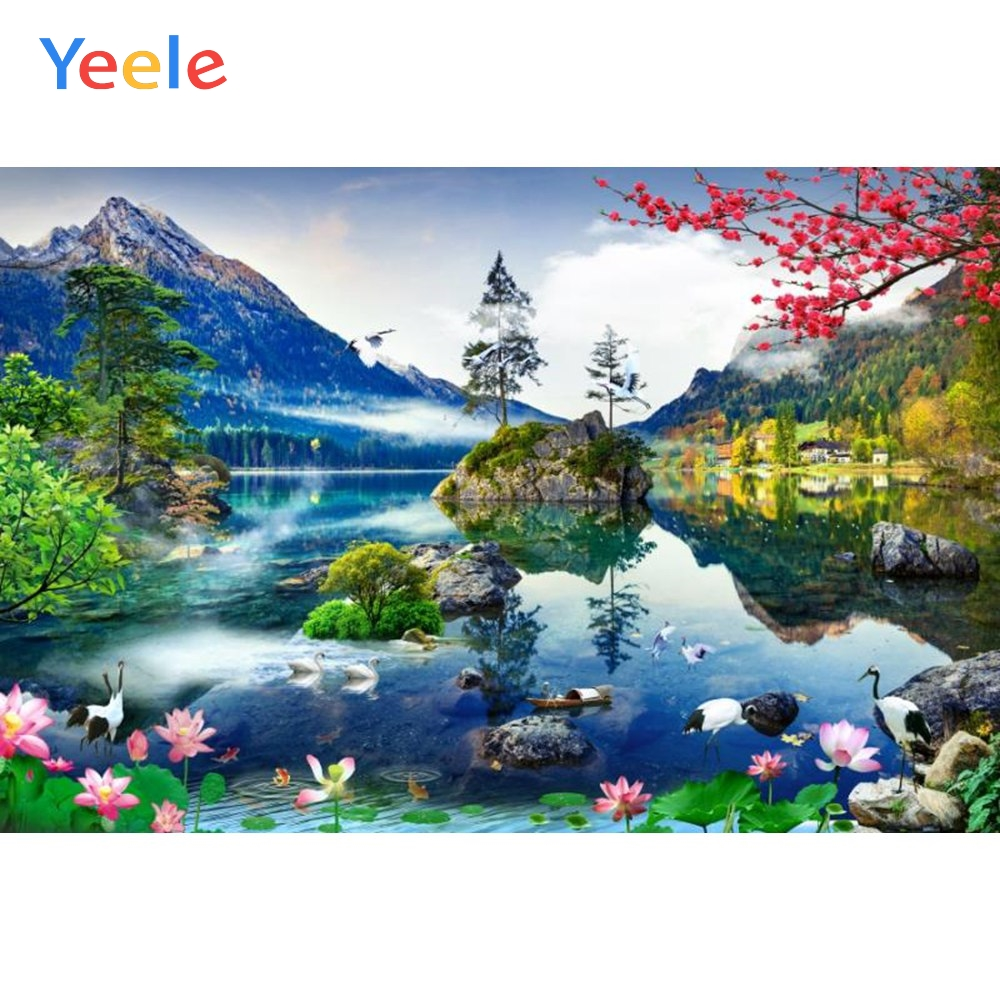 Yeele River Mountains Swans Nature Scenery Portrait Photography Background Customized Photographic Backdrop For Photo Studio