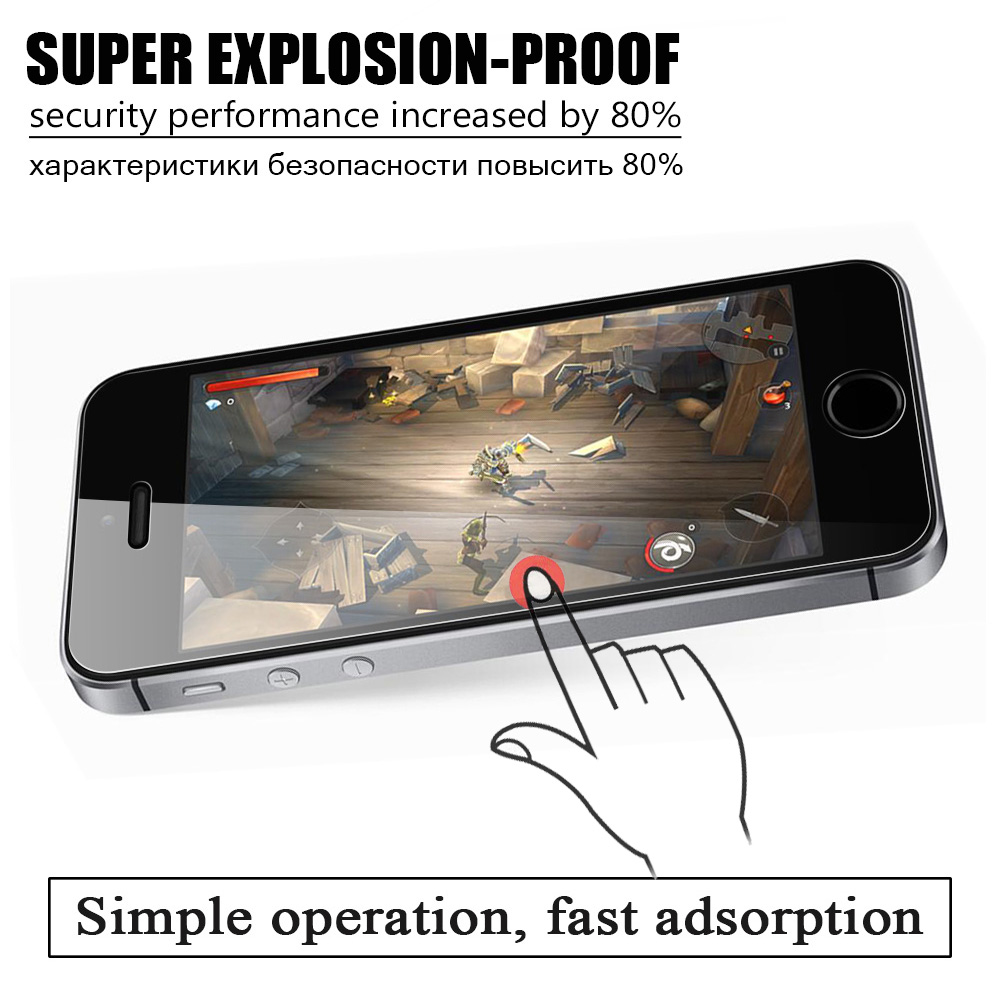 KIP5S-1141_4_Tempered Glass for iPhone 5 5S SE 5C