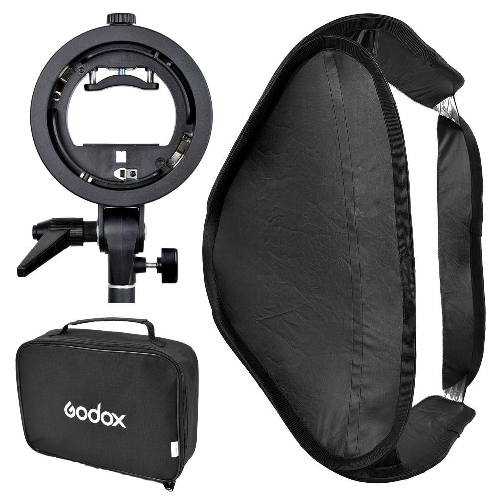 Godox S-Type Speedlite Bracket Elinchrom Mount Holder Diffuser + 80 x 80cm Softbox for Studio Photography