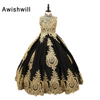 Real Pictures Custom Made Gold Lace Black Satin High Neck Girl Communion Dresses Pageant Ball Gowns