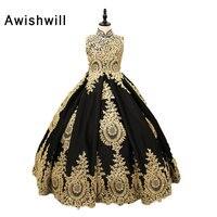 Реальные фотографии, сделанные на заказ, золотые кружевные черные атласные платья с высоким воротом для причастия для девочек, пышные бальн