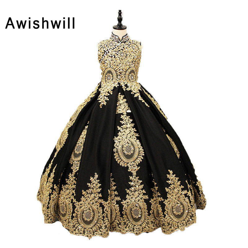 Real Pictures Custom Made Gold Lace Black Satin High Neck   Girl   Communion   Dresses   Pageant Ball Gowns Party   Dress   For   Girls
