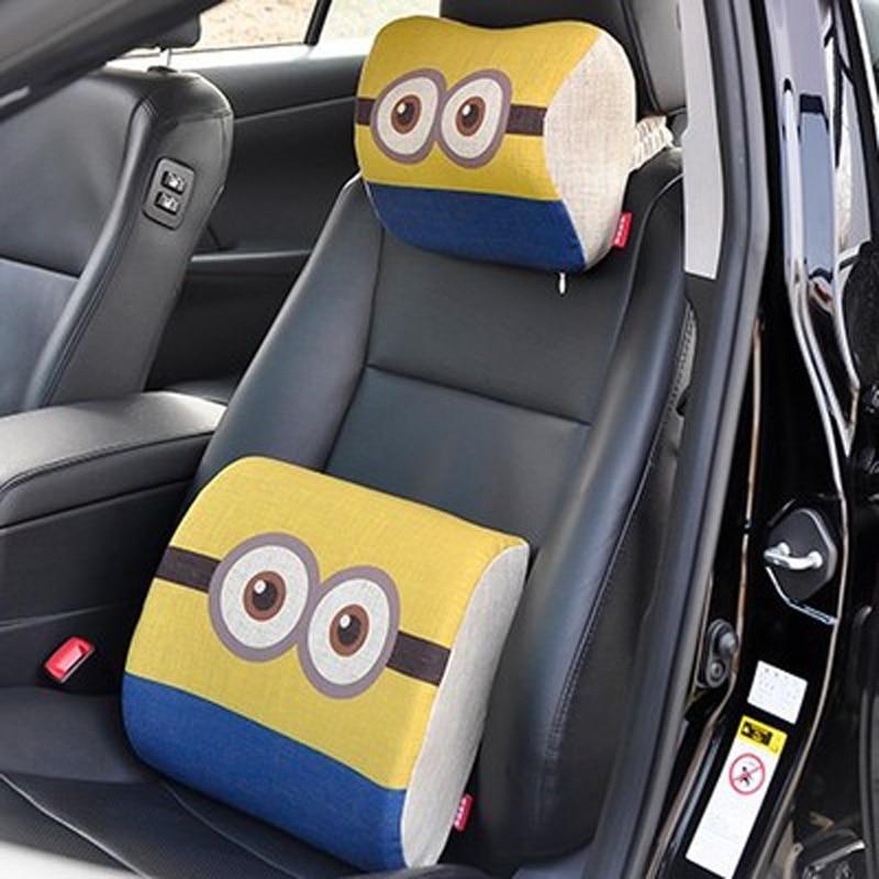 Cartoon Minions Car headrest Pillow Waist Support Set Linen Auto Seat Neck Head Rest Pillows Cute