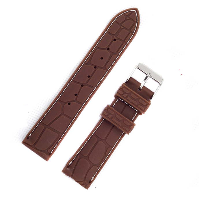 1pc selling Crocodile Watch band Silicone Rubber Watch Band Strap with different color stitching  20mm 22mm sport strap eache silicone watch band strap replacement watch band can fit for swatch 17mm 19mm men women