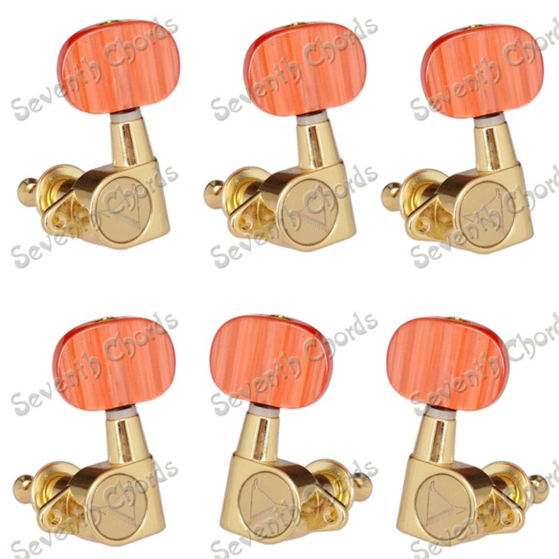 A Set of 6 pcs Beautiful Carbuncle Plastic Oval Button Sealed Gear String Tuners Tuning Pegs Keys Machine Head for Guitar a set of 6 pcs gun color sealed gear string tuners tuning pegs keys machine heads for guitar