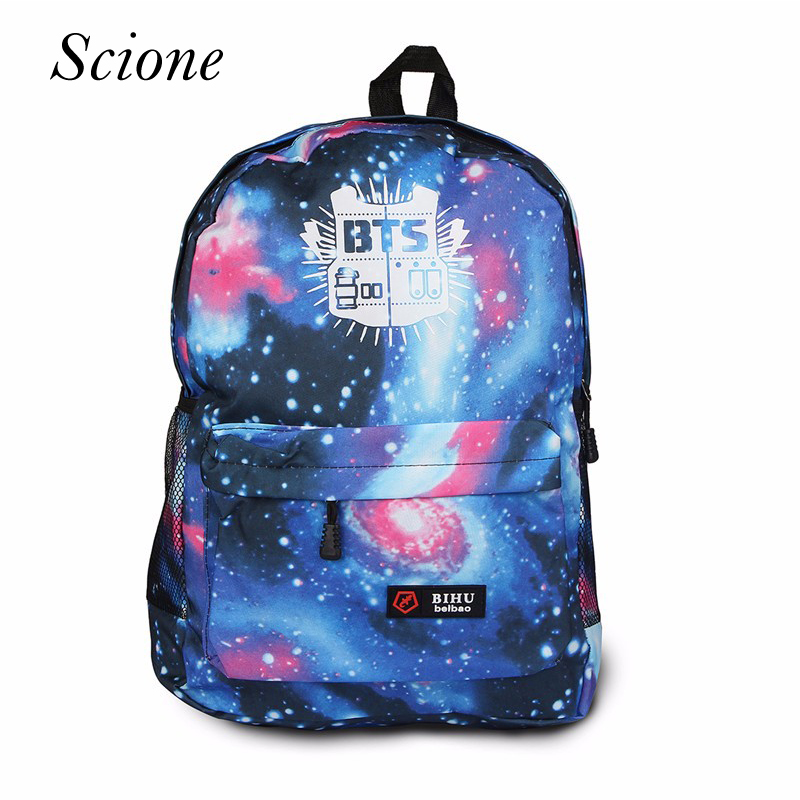2017 Fashion Canvas Galaxy Printed BTS Backpacks School Bags For Teenager girl Men Laptop Travel Shoulder Rucksack Mochila Li152