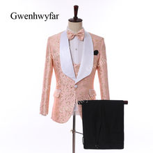 Gwenhwyfar Peach Pink Men Suits 2019 New Designed Floral Jacquard Shawl Collar Suits with Pant Vest Business Wedding Men Tuxedos(China)