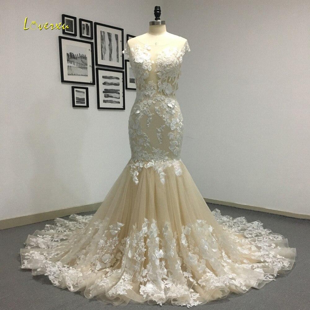 Loverxu Romantique Scoop Cou Dos Nu Princesse Sirène Robe De Mariée 2018 Magnifique Appliques Robe De Mariage Robe De Mariée Plus La Taille