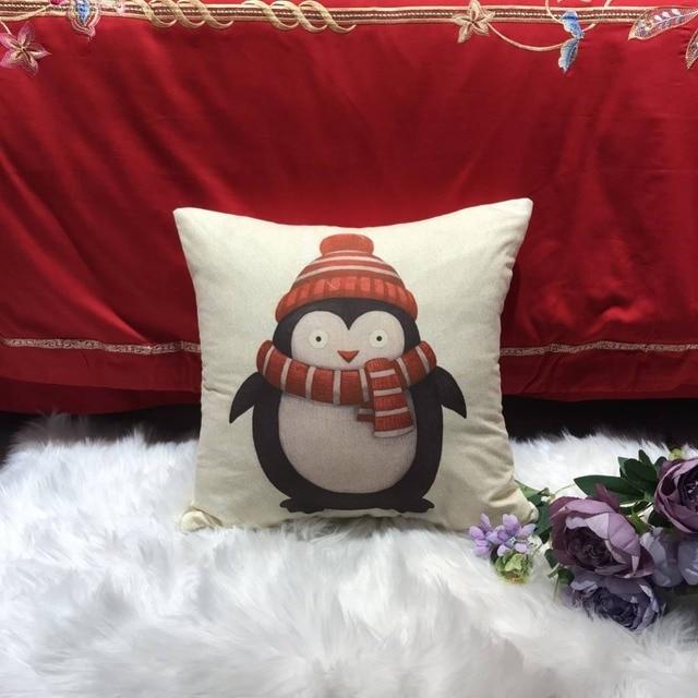 Federa del fumetto di Natale Babbo Natale Pupazzo di Neve Alce Modello Cuscino D