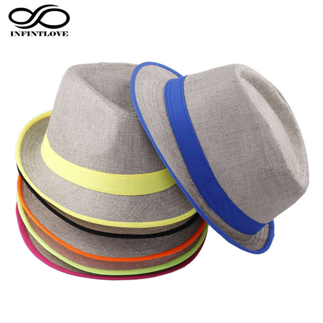 34613a6fe7c LUCKYLIANJI Summer Fall Men Women Fedora Panama Trilby Gangster Colorful  Brim Band Cap Beach Sun Trip Linen Hat (One Size 58cm)
