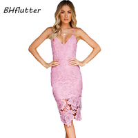 BHflutter Women Dress 2018 New Fashion Sexy White Lace Dress Spaghetti Strap V neck Summer Dress Knee Length Casual Party Dress