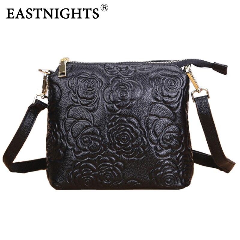 Eastnights 2017 mujeres hombro bolsa de mensajero de cuero genuino bolso de la m