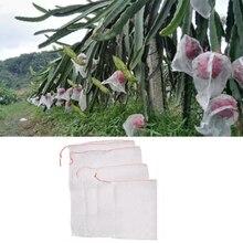 50 шт. белый дышащий садовый растение фрукты овощи защита шнурок сетка PE мешок против насекомых вредителей птиц 4 размера