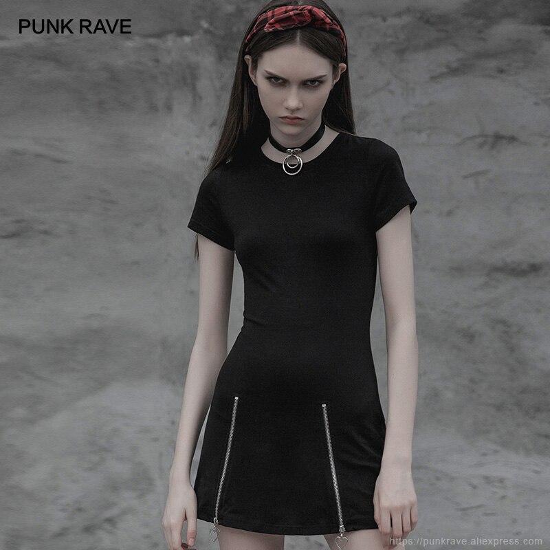 PUNK RAVE nouveau gothique femmes foncé minimaliste Slim manches courtes Age-cut robe Punk Zipper mode Club fête femmes robes noires