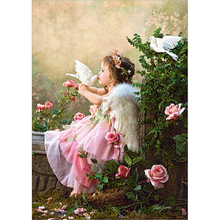 Diy paint pearl diamond complete mosaic square drill butterfly embroidery 3D Images Little girl flowers and bird