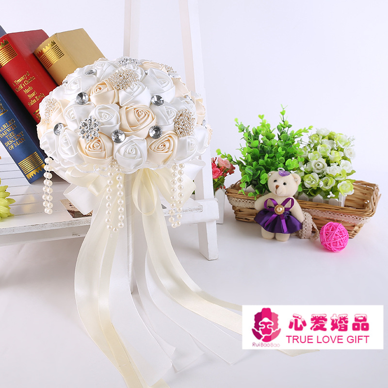 In Stock Gorgeous Beaded Crystal Wedding Bouquet Ivory Rose Bridesmaid Flowers Artificial Sapphire Pearl Bridal Bouquets S136