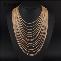 2017 NewExaggerated Fashion Necklaces Pendants Retro Multi Layer Tassel Necklace Costume Gold Jewelry For Women Wedding