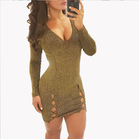 New Women Grey Gold Dresses Long Sleeve V-neck Hollow out Bandage Bodycon Party Dresses Sexy Ladies Mini Runway Dress Vestidos