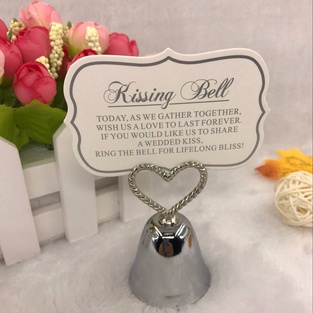FREE SHIPPING(30pcs/lot)+Kissing Bell Silver Bell Place Card Holder/Photo Holder Wedding Table Decoration Favors